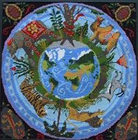 Image of the world with creatures as a tapestry.